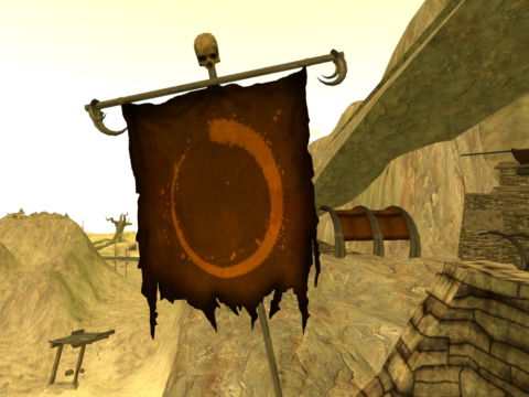 A banner of the Wyrmwood Mark in the Cormac ruins.