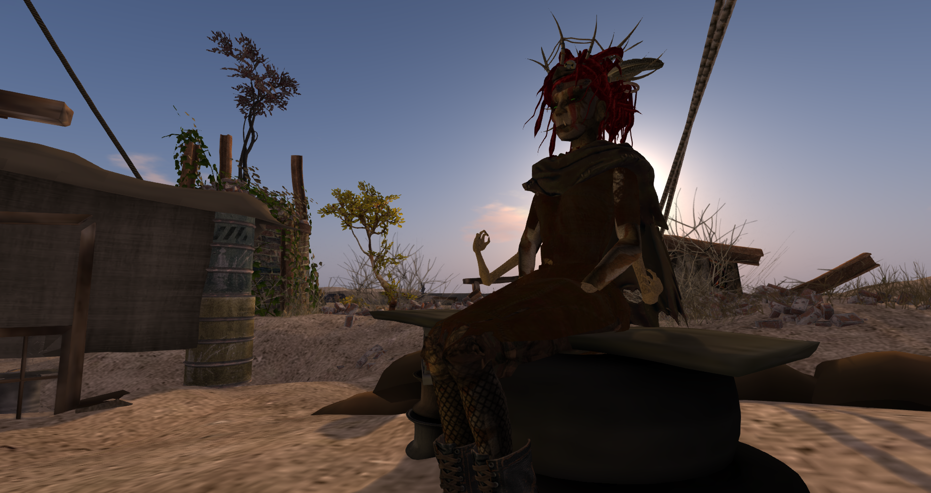 The Mutant Witch of the Wastes ((Cindy Pfeffer)) sitting on a bench at her camp.