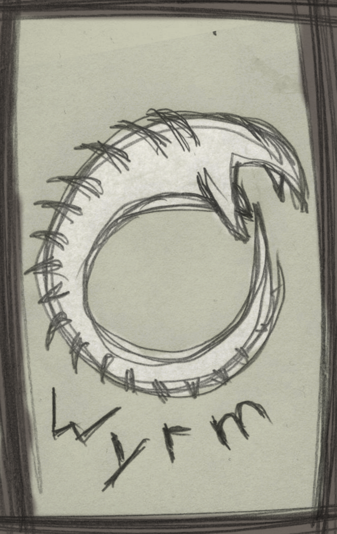 A sketch of a stylized Sandworm biting its own tail.